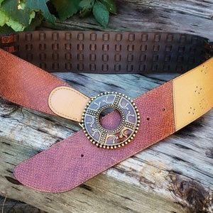 🥀CHICO'S Brown Multi Vegan Leather Belt Sz S - M